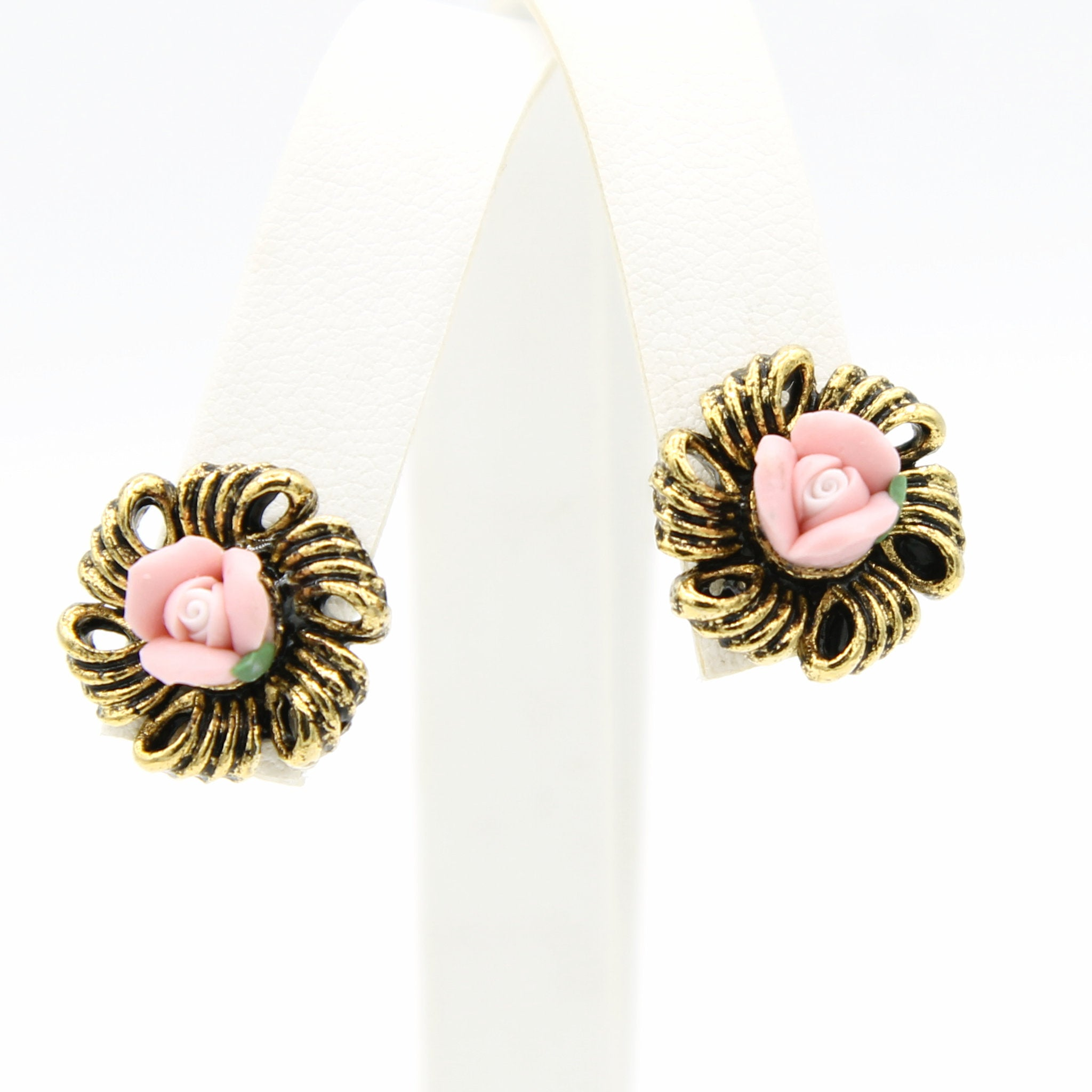 Pink Bisque Rose Earrings - Flotsam from Michigan - 1