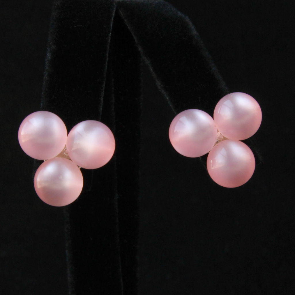 Pink Moonglow Lucite Earrings - Flotsam from Michigan - 1