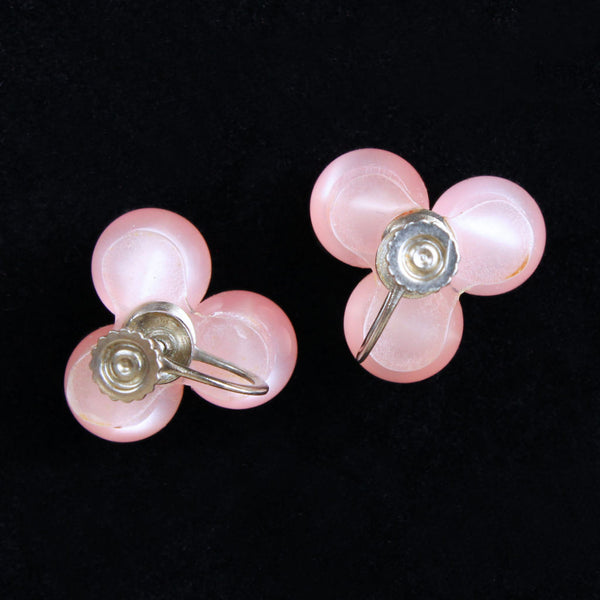 Pink Moonglow Lucite Earrings backs - Flotsam from Michigan - 2
