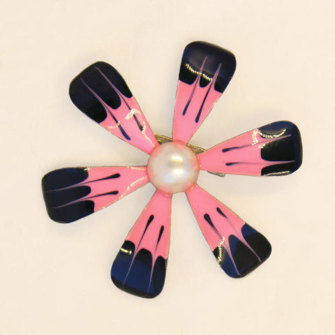 Pink and Black Flower Power Enamel Brooch