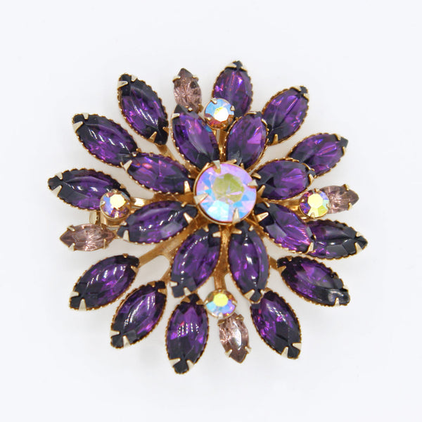 Purple Rhinestone Atomic Set Brooch - Flotsam from Michigan - 2