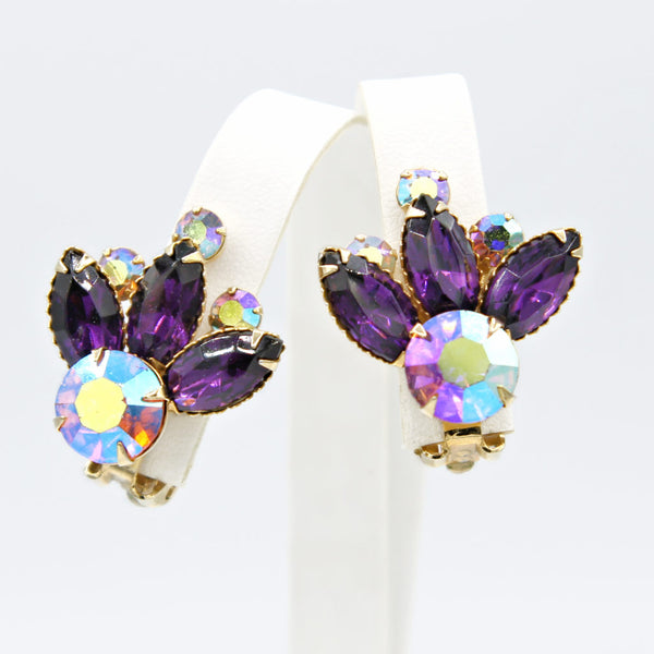 Purple Rhinestone Atomic Set Earrings - Flotsam from Michigan - 3