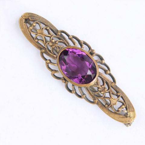 Antique Openwork Brass Bar Pin with Purple Stone
