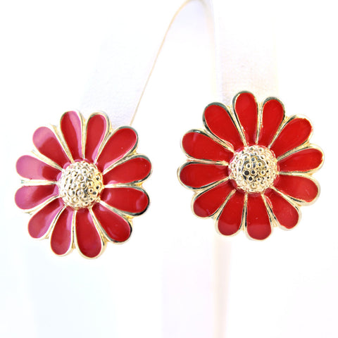 Red Enamel Daisy Earrings - Flotsam from Michigan - 1