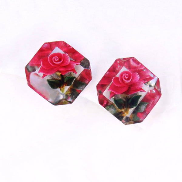 Red Rose Lucite Earrings - Flotsam from Michigan - 3