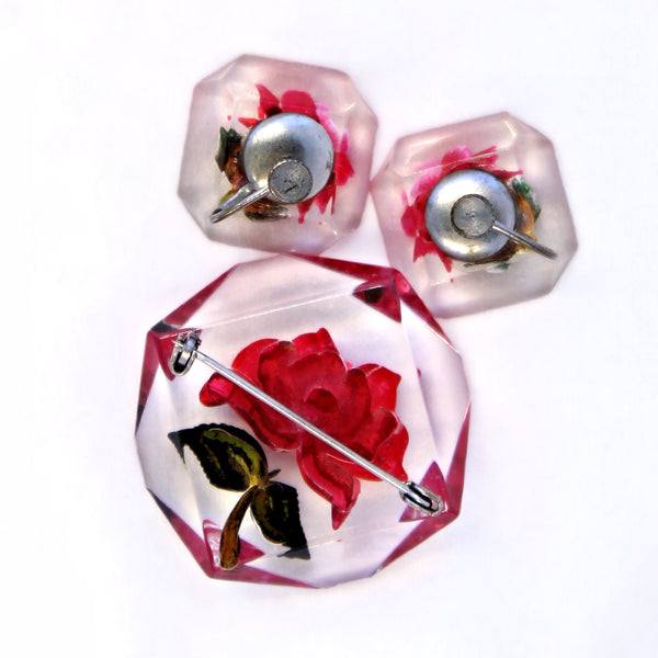 Red Rose Lucite Set Back - Flotsam from Michigan - 4
