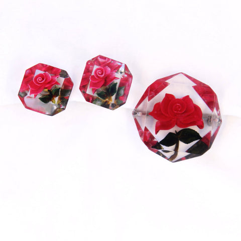 Red Rose Lucite Pin & Earrings Set Vintage