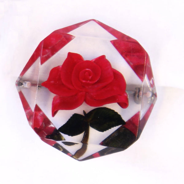 Red Rose Lucite Brooch - Flotsam from Michigan - 2