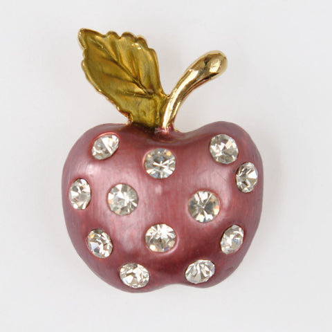 Rhinestone-Studded Enamel Apple Brooch Pin