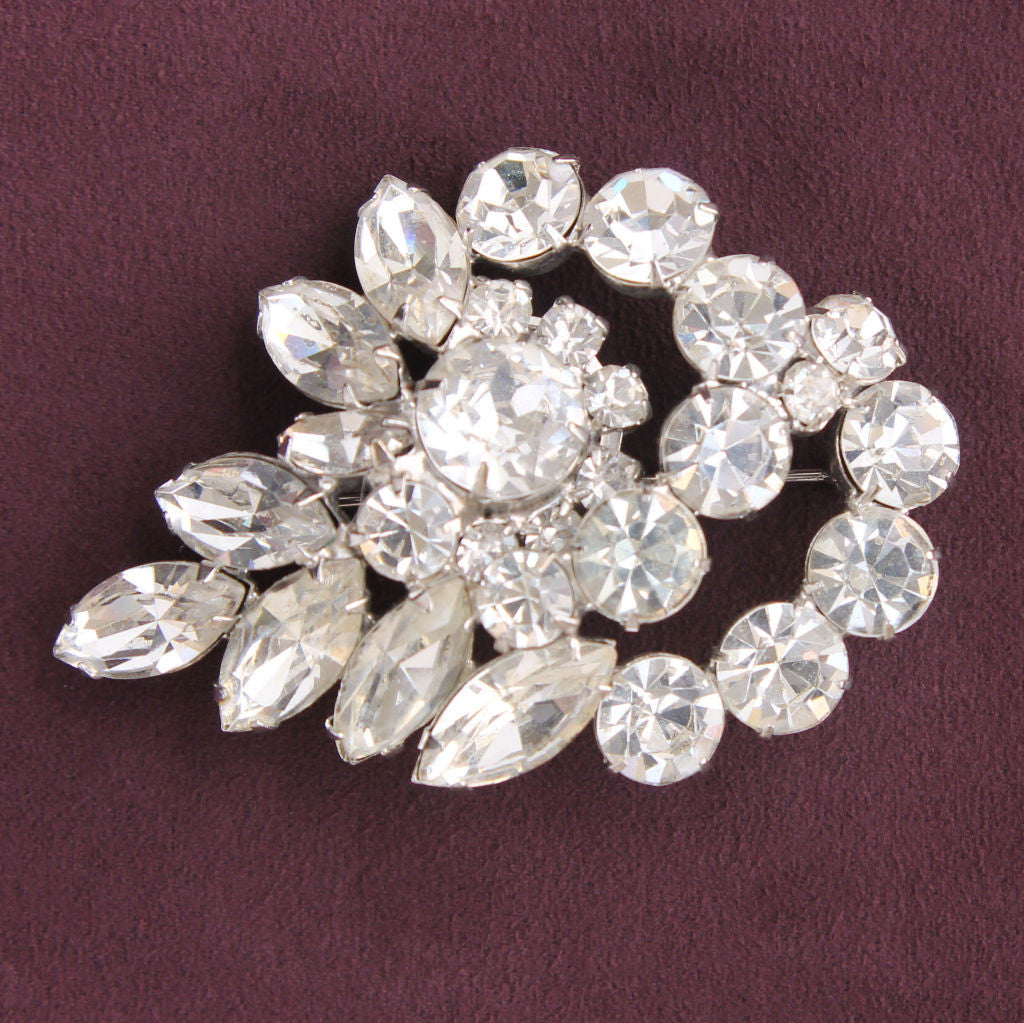 Rhinestone Garland Brooch Pin Vintage Mid-Century Glamor Statement - Flotsam from Michigan  - 1
