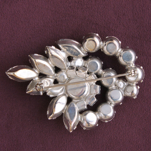 Rhinestone Garland Brooch Pin Vintage Mid-Century Glamor Statement - Flotsam from Michigan  - 2