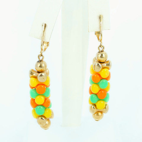 Sarah Coventry Carousel Clip Earrings Citrus Colors