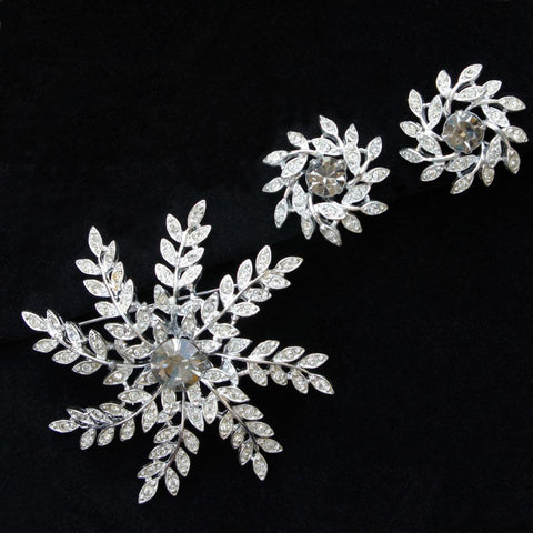 Sarah Coventry Evening Snowflake Vintage Brooch & Earrings Set