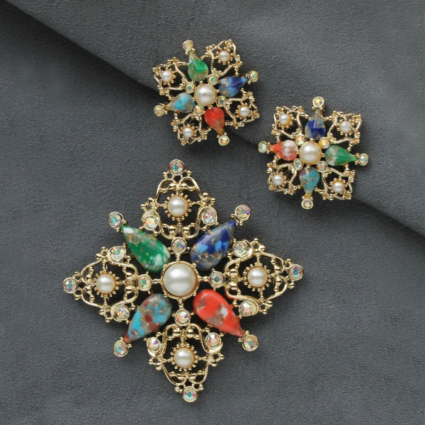 Sarah Coventry Galaxy Brooch & Earrings Set - Flotsam from Michigan  - 1