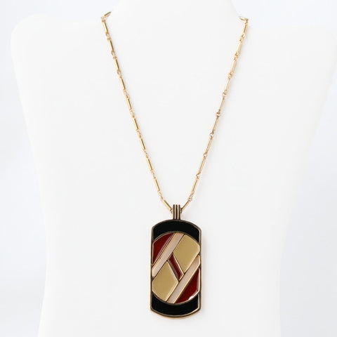 Sarah Coventry Interlude Enamel Pendant Necklace Vintage