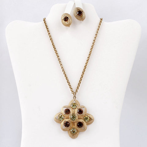 Sarah Coventry Starburst Vintage Pendant & Earrings Set