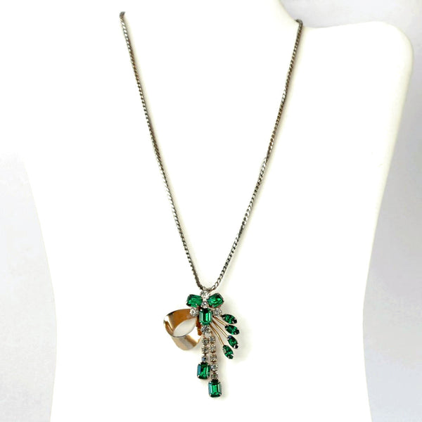 Scitarelli Pendant / Brooch Necklace Green & Clear Rhinestones - Flotsam from Michigan - 1