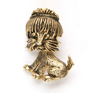 Cute Shaggy Dog Figural Brooch Pin - Flotsam from Michigan  - 1