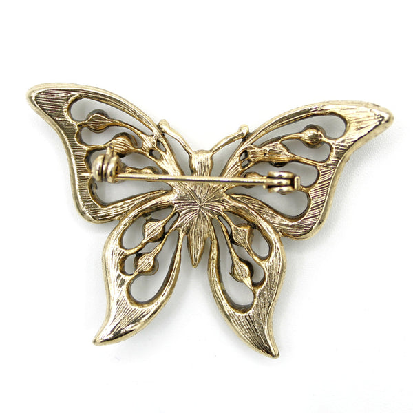 Rhinestone Butterfly Brooch Back - Flotsam from Michigan - 2