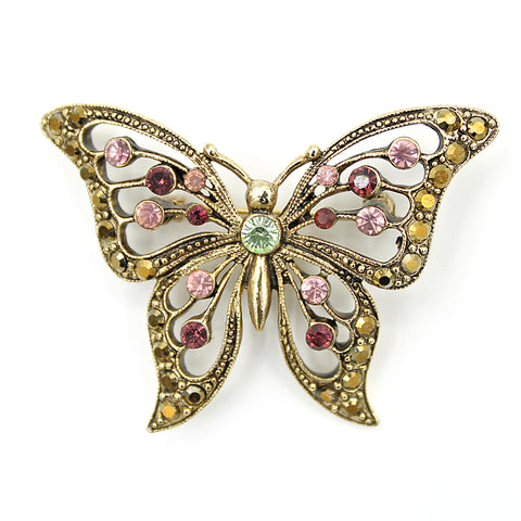Rhinestone Butterfly Brooch - Flotsam from Michigan - 1