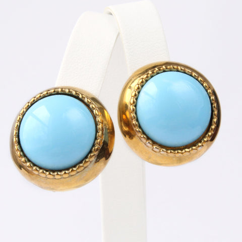 Donald Stannard Blue Cab Clip Earrings Vintage 1980s