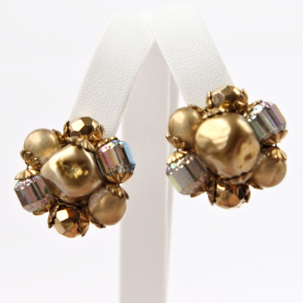 Tan Goldtone Iridescent Bead Cluster Clip Earrings - Flotsam from Michigan  - 1