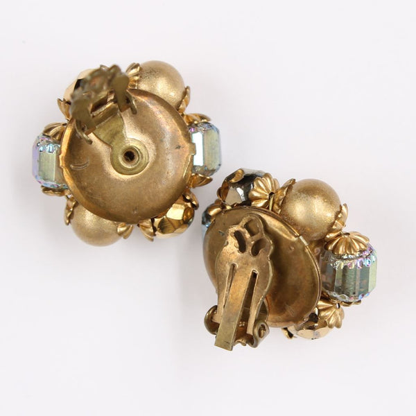 Tan Goldtone Iridescent Bead Cluster Clip Earrings - Flotsam from Michigan  - 2