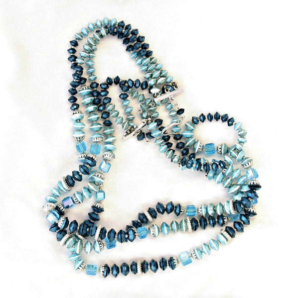 Teal rondelles necklace whole - Flotsam from Michigan Vintage - 2