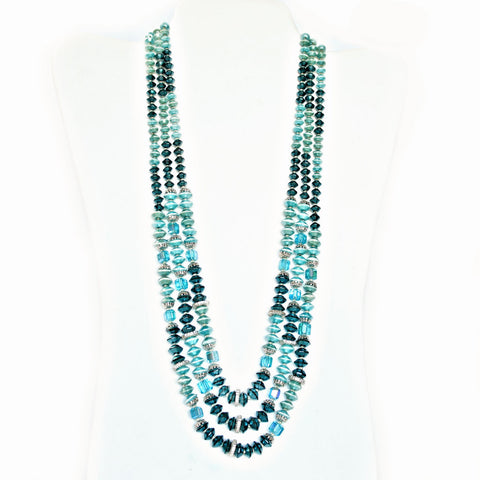 Teal rondelles necklace - Flotsam from Michigan Vintage - 1