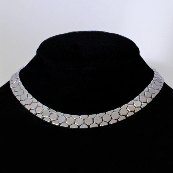 Trifari 'Honeycomb' Silvertone Tailored Necklace Vintage 1948 Ad Piece - Flotsam from Michigan  - 1