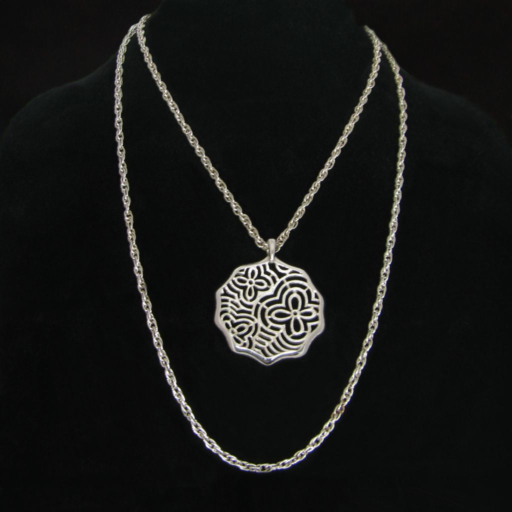 Crown Trifari Double Chain Medallion Pendant Necklace - Flotsam from Michigan  - 1