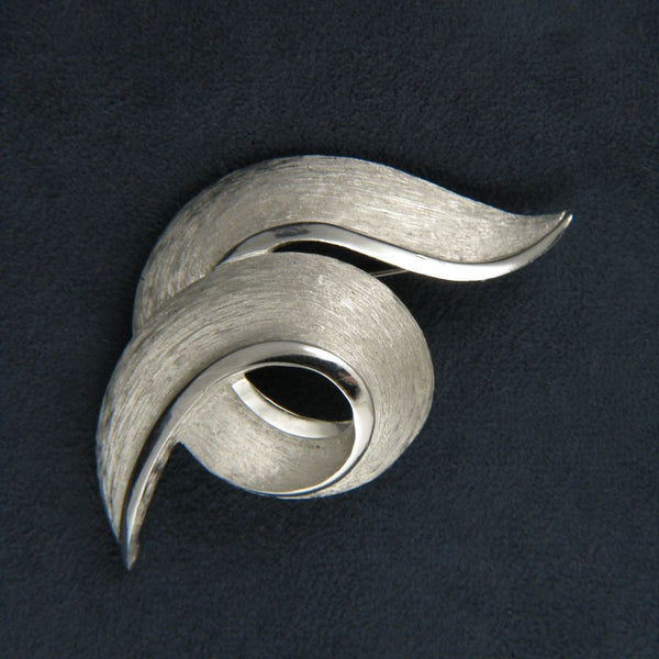 Crown Trifari Silvertone Tailored Knot Pin - Flotsam from Michigan  - 1