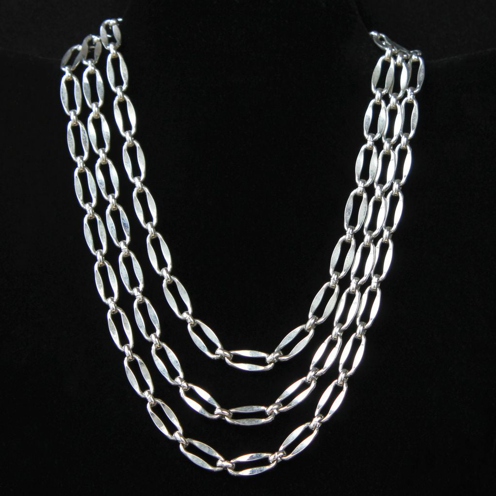 Triple Strand Silvertone Chain Choker Necklace - Flotsam from Michigan  - 1