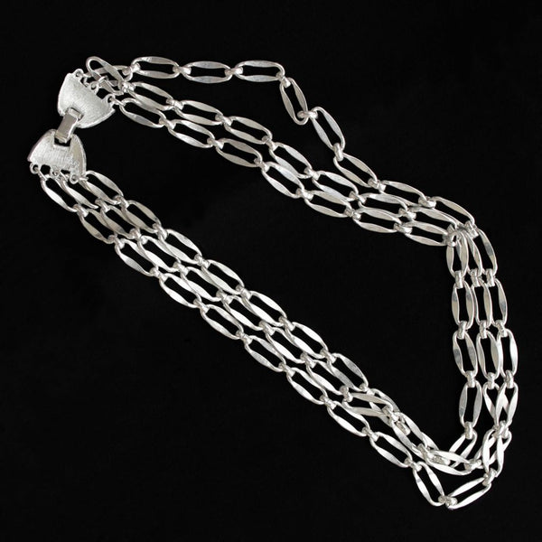 Triple Strand Silvertone Chain Choker Necklace - Flotsam from Michigan  - 2