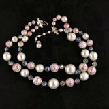 Vendome Pink, White and Crystal Necklace Whole - Flotsam from Michigan - 2