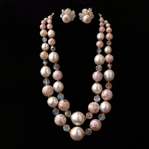 Vendome Pink, White and Crystal Necklace & Earrings - Flotsam from Michigan  - 1