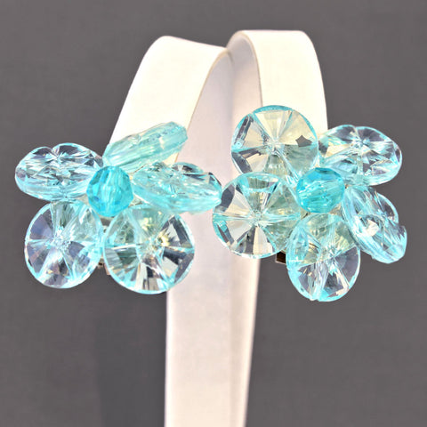 Clear Aqua Acrylic Clip Earrings Vintage West Germany