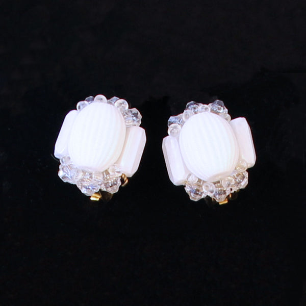 White Acrylic Set Earrings - Flotsam from Michigan - 2