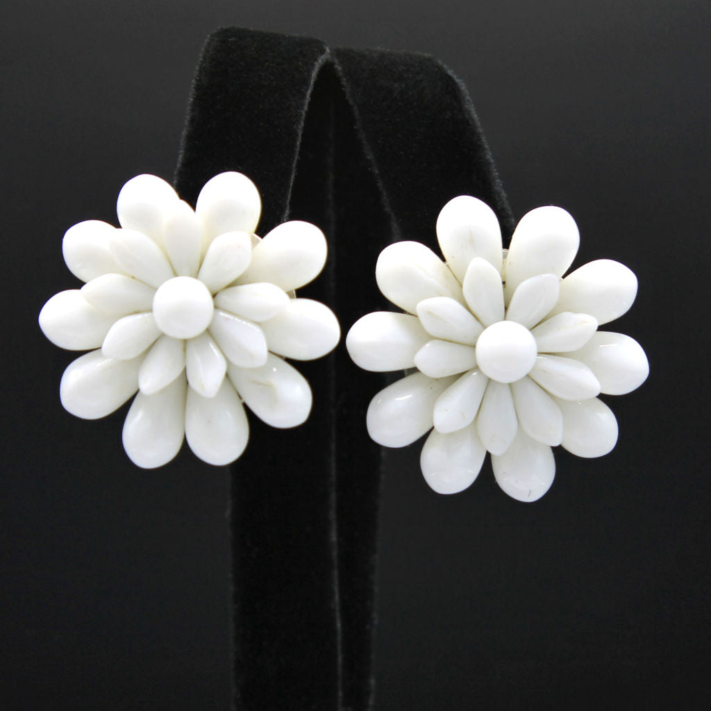White Glass Flower Clip Earrings West Germany Vintage Flotsam From