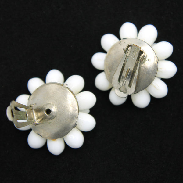 WG White Flower Earrings Backs - Flotsam from Michigan - 2
