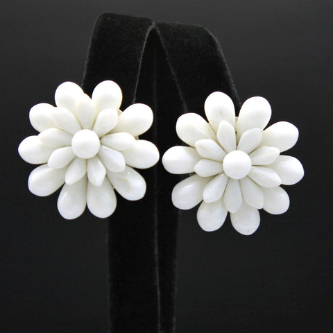 White Glass Flower Clip Earrings West Germany Vintage