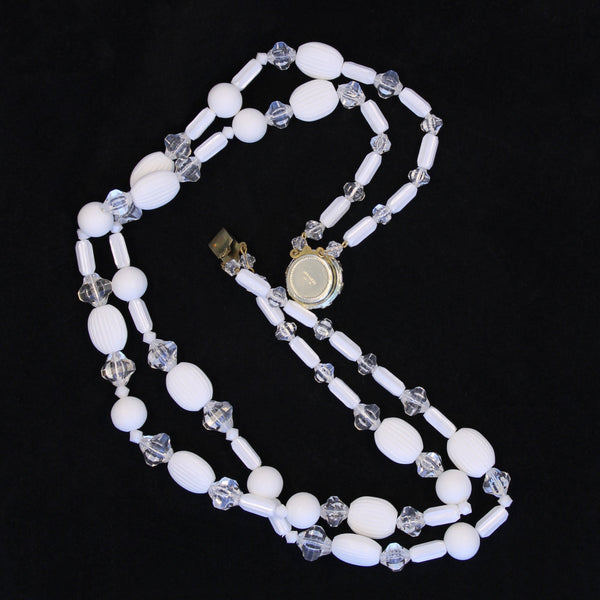 White Acrylic Set Necklace Whole - Flotsam from Michigan - 3