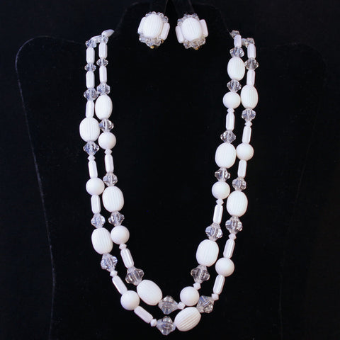 White Plastic Necklace & Earrings Set West Germany Vintage