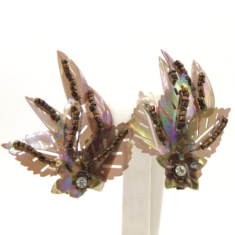 Purple Plastic Leaves Earrings - Flotsam from Michigan - 1