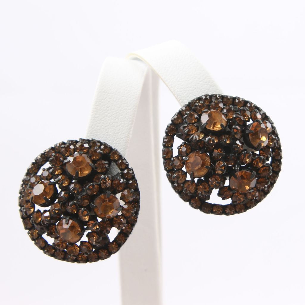 Warner Rootbeer Rhinestone Japanned Domed Clip Earrings - Flotsam from Michigan  - 1