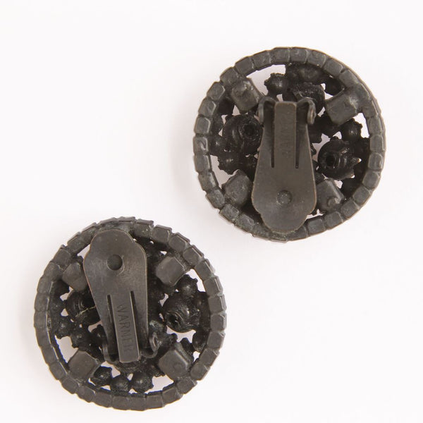 Warner Rootbeer Rhinestone Japanned Domed Clip Earrings - Flotsam from Michigan  - 2