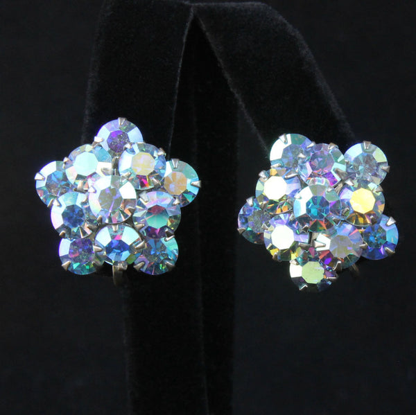 Weiss Blue AB Rhinestone Star Screwback Earrings Vintage