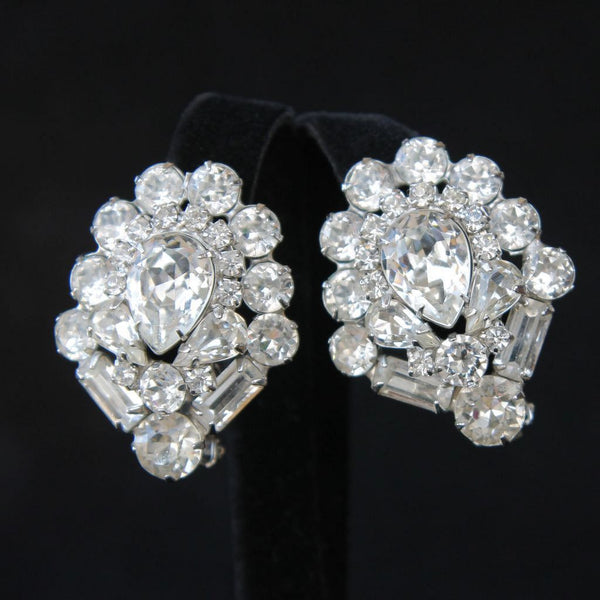 Weiss Statement Bold Clear Rhinestone Clip Earrings Vintage - Flotsam from Michigan  - 1
