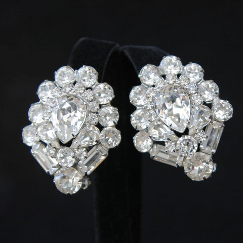 Weiss Statement Bold Clear Rhinestone Clip Earrings Vintage