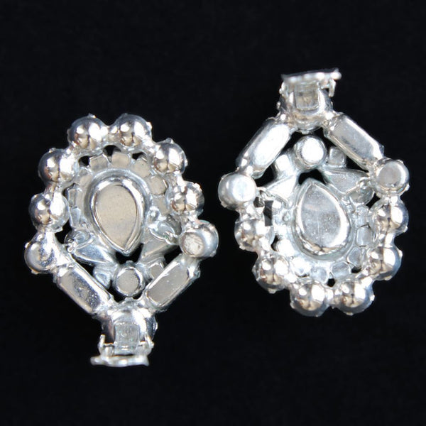 Weiss Statement Bold Clear Rhinestone Clip Earrings Vintage - Flotsam from Michigan  - 3